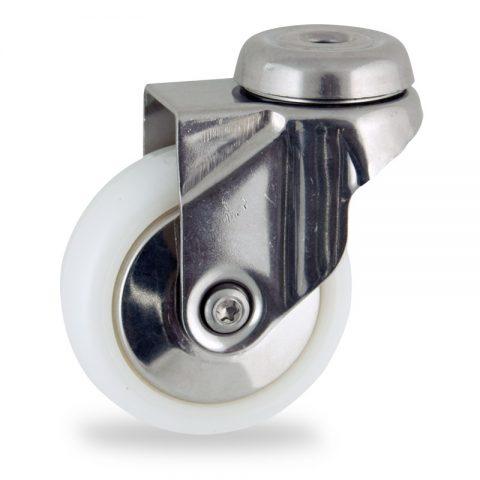 Ανοξείδωτη περιστρεφόμενη ρόδα 75mm για καρότσι ελαφρύ,με τροχό από Νάυλον χωρίς ρουλεμάν με ανοξείδωτα καπάκια.Προσαρμογή με τρύπα.