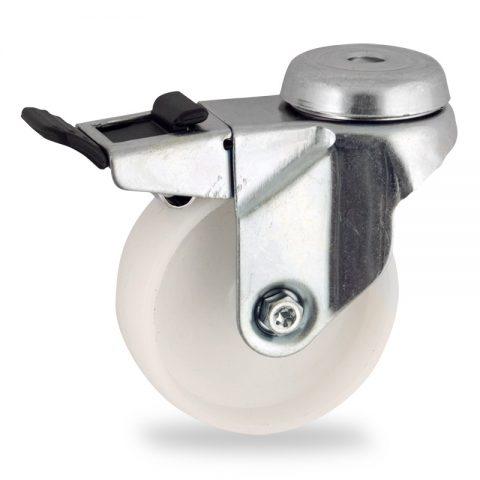 Ρόδα με φρένο 50mm για καρότσι ελαφρύ,με τροχό από Νάυλον χωρίς ρουλεμάν.Προσαρμογή με τρύπα.