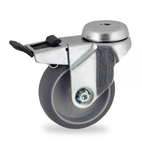Ρόδα με φρένο 50mm για καρότσι ελαφρύ,με τροχό από Γκρι λάστιχο χωρίς ρουλεμάν.Προσαρμογή με τρύπα.