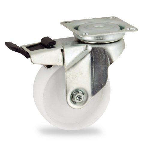 Ρόδα με φρένο 50mm για καρότσι ελαφρύ,με τροχό από Νάυλον χωρίς ρουλεμάν.Προσαρμογή με πλάκα.