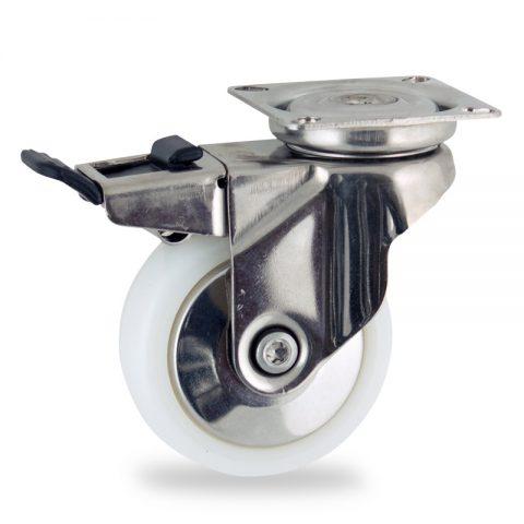 Ανοξείδωτη ρόδα με φρένο 75mm για καρότσι ελαφρύ,με τροχό από Νάυλον χωρίς ρουλεμάν με ανοξείδωτα καπάκια.Προσαρμογή με πλάκα.