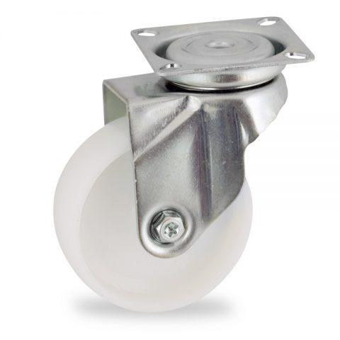 Περιστρεφόμενη ρόδα 50mm για καρότσι ελαφρύ,με τροχό από Νάυλον χωρίς ρουλεμάν.Προσαρμογή με πλάκα.