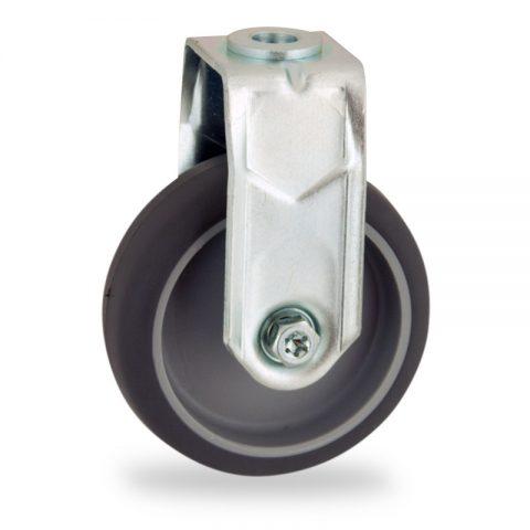 Σταθερή ρόδα 50mm για καρότσι ελαφρύ,με τροχό από Γκρι λάστιχο χωρίς ρουλεμάν.Προσαρμογή με τρύπα.