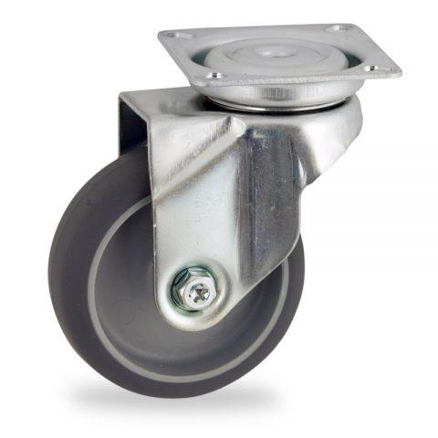 Περιστρεφόμενη ρόδα 50mm για καρότσι ελαφρύ,με τροχό από Γκρι λάστιχο χωρίς ρουλεμάν.Προσαρμογή με πλάκα.