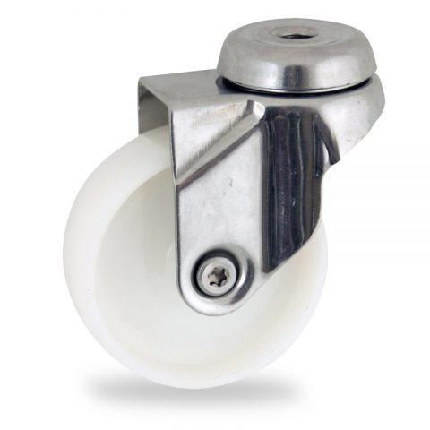 Ανοξείδωτη περιστρεφόμενη ρόδα 125mm για καρότσι ελαφρύ,με τροχό από Νάυλον χωρίς ρουλεμάν.Προσαρμογή με τρύπα.