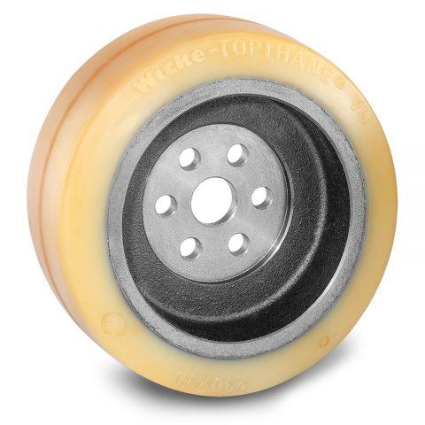 Κινητήριος τροχός για ηλεκτροκίνητο παλετοφόρο 230mmΧ90mm, από πολυουρεθάνη  με εφαρμογή φλάντζα με 6 τρύπες για μηχανήματα Linde