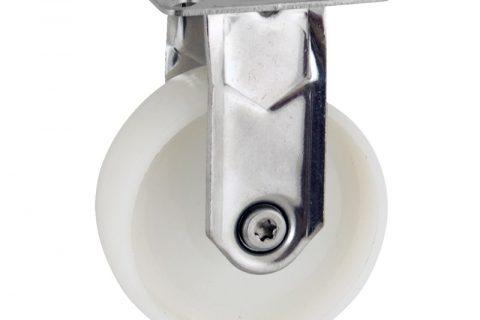 Ανοξείδωτη σταθερή ρόδα 50mm για καρότσι ελαφρύ,με τροχό από Νάυλον χωρίς ρουλεμάν.Προσαρμογή με πλάκα.