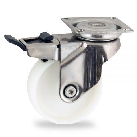 Ανοξείδωτη ρόδα με φρένο 75mm για καρότσι ελαφρύ,με τροχό από Νάυλον χωρίς ρουλεμάν.Προσαρμογή με πλάκα.