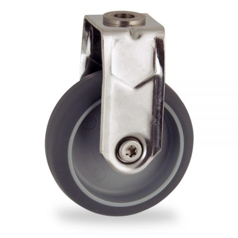 Ανοξείδωτη σταθερή ρόδα 50mm για καρότσι ελαφρύ,με τροχό από Γκρι λάστιχο χωρίς ρουλεμάν.Προσαρμογή με τρύπα.