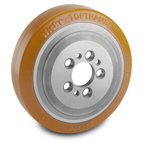 Κινητήριος τροχός για ηλεκτροκίνητο παλετοφόρο 230mmΧ70mm, από πολυουρεθάνη  με εφαρμογή φλάντζα με 5 τρύπες για μηχανήματα Jungheinrich