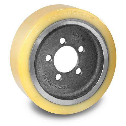 Κινητήριος τροχός για ηλεκτροκίνητο παλετοφόρο 310mmΧ105mm, από πολυουρεθάνη  με εφαρμογή φλάντζα με 5 τρύπες για μηχανήματα BT