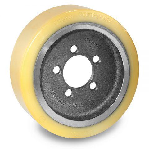 Κινητήριος τροχός για ηλεκτροκίνητο παλετοφόρο 310mmΧ105mm, από πολυουρεθάνη  με εφαρμογή φλάντζα με 5 τρύπες για μηχανήματα Jungheinrich,Steinbock