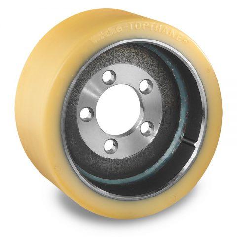 Κινητήριος τροχός για ηλεκτροκίνητο παλετοφόρο 300mmΧ130mm, από πολυουρεθάνη  με εφαρμογή φλάντζα με 5 τρύπες για μηχανήματα Still-Wagner