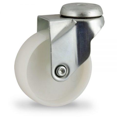 Περιστρεφόμενη ρόδα 75mm για καρότσι ελαφρύ,με τροχό από Νάυλον χωρίς ρουλεμάν.Προσαρμογή με τρύπα.