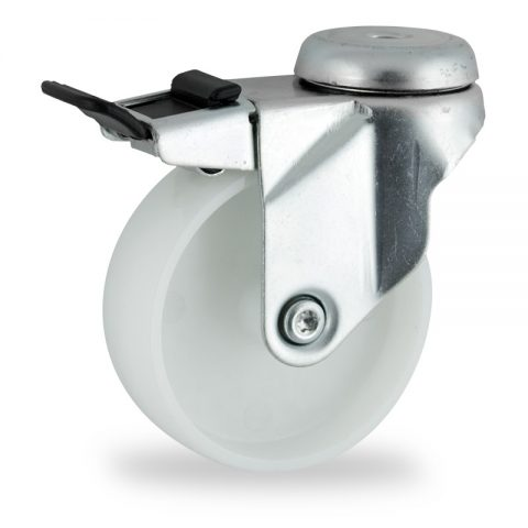 Ρόδα με φρένο 75mm για καρότσι ελαφρύ,με τροχό από Νάυλον χωρίς ρουλεμάν.Προσαρμογή με τρύπα.