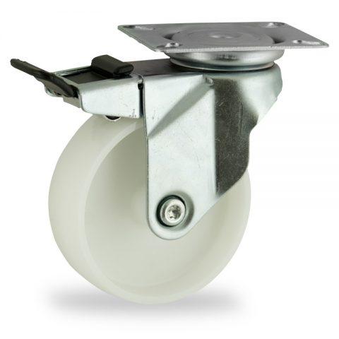 Ρόδα με φρένο 75mm για καρότσι ελαφρύ,με τροχό από Νάυλον χωρίς ρουλεμάν.Προσαρμογή με πλάκα.