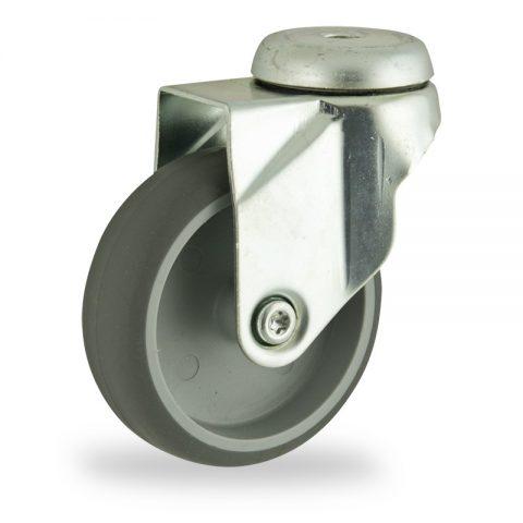 Περιστρεφόμενη ρόδα 125mm για καρότσι ελαφρύ,με τροχό από Γκρι λάστιχο χωρίς ρουλεμάν.Προσαρμογή με τρύπα.