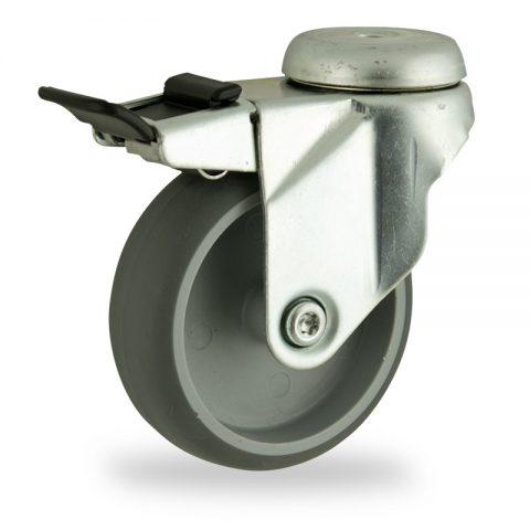 Ρόδα με φρένο 150mm για καρότσι ελαφρύ,με τροχό από Γκρι λάστιχο χωρίς ρουλεμάν.Προσαρμογή με τρύπα.