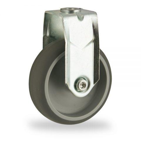 Σταθερή ρόδα 75mm για καρότσι ελαφρύ,με τροχό από Γκρι λάστιχο με σφαιρικά ρουλεμάν.Προσαρμογή με τρύπα.