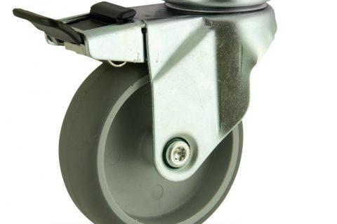 Ρόδα με φρένο 125mm για καρότσι ελαφρύ,με τροχό από Γκρι λάστιχο χωρίς ρουλεμάν.Προσαρμογή με πλάκα.