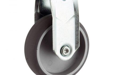 Σταθερή ρόδα 150mm για καρότσι ελαφρύ,με τροχό από Γκρι λάστιχο χωρίς ρουλεμάν.Προσαρμογή με πλάκα.