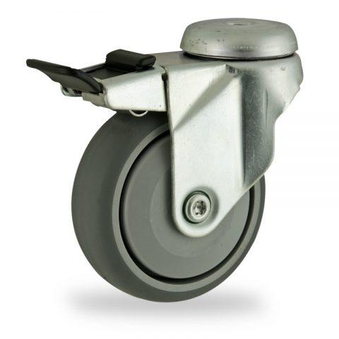 Ρόδα με φρένο 125mm για καρότσι ελαφρύ,με τροχό από Γκρι λάστιχο με σφαιρικά ρουλεμάν και με πλαστικά καπάκια.Προσαρμογή με τρύπα.