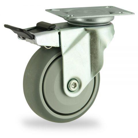 Ρόδα με φρένο 125mm για καρότσι ελαφρύ,με τροχό από Γκρι λάστιχο με σφαιρικά ρουλεμάν και με πλαστικά καπάκια.Προσαρμογή με πλάκα.