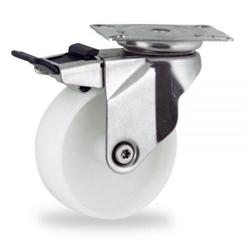 Ανοξείδωτη ρόδα με φρένο 150mm για καρότσι ελαφρύ,με τροχό από Νάυλον χωρίς ρουλεμάν.Προσαρμογή με πλάκα.