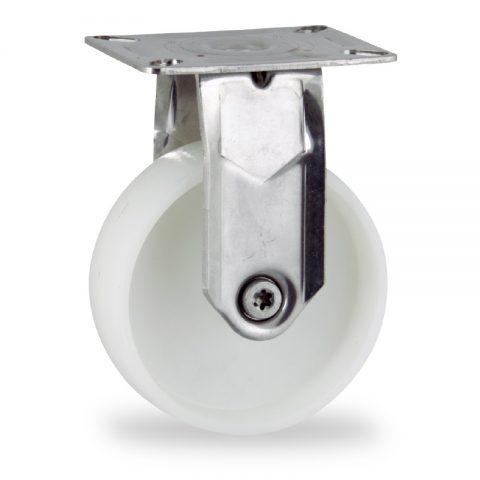 Ανοξείδωτη σταθερή ρόδα 125mm για καρότσι ελαφρύ,με τροχό από Νάυλον χωρίς ρουλεμάν.Προσαρμογή με πλάκα.