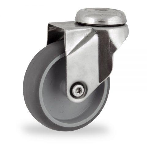 Ανοξείδωτη περιστρεφόμενη ρόδα 125mm για καρότσι ελαφρύ,με τροχό από Γκρι λάστιχο χωρίς ρουλεμάν.Προσαρμογή με τρύπα.