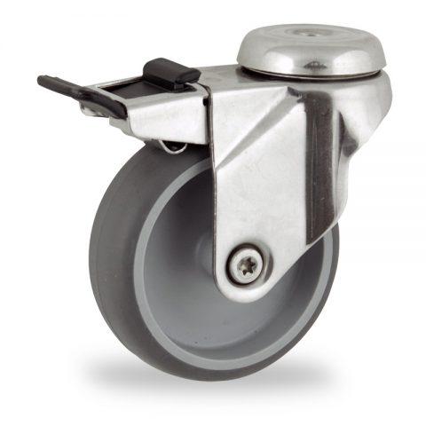 Ανοξείδωτη ρόδα με φρένο 100mm για καρότσι ελαφρύ,με τροχό από Γκρι λάστιχο χωρίς ρουλεμάν.Προσαρμογή με τρύπα.