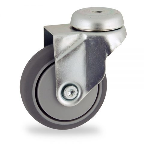 Zinc plated swivel castor 50mm for light trolleys,wheel made of grey rubber,precision bearing.Bolt hole fitting