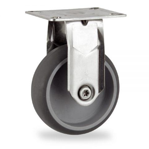 Ανοξείδωτη σταθερή ρόδα 100mm για καρότσι ελαφρύ,με τροχό από Γκρι λάστιχο χωρίς ρουλεμάν.Προσαρμογή με πλάκα.