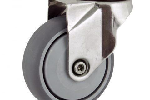 Ανοξείδωτη περιστρεφόμενη ρόδα 125mm για καρότσι ελαφρύ,με τροχό από Γκρι λάστιχο με σφαιρικά ρουλεμάν και με πλαστικά καπάκια.Προσαρμογή με τρύπα.