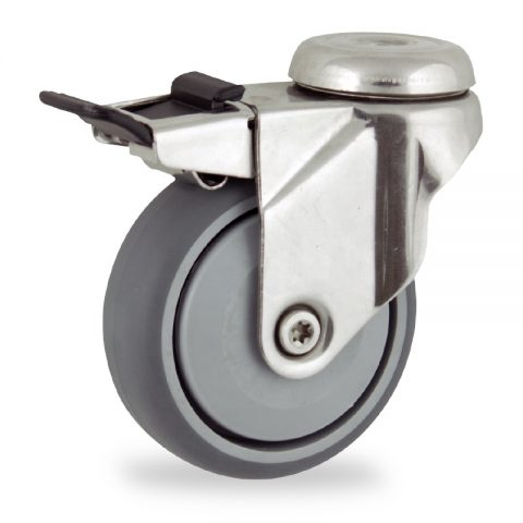 Ανοξείδωτη ρόδα με φρένο 125mm για καρότσι ελαφρύ,με τροχό από Γκρι λάστιχο με σφαιρικά ρουλεμάν και με πλαστικά καπάκια.Προσαρμογή με τρύπα.