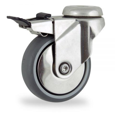Ανοξείδωτη ρόδα με φρένο 75mm για καρότσι ελαφρύ,με τροχό από Γκρι λάστιχο χωρίς ρουλεμάν με μεταλλικά καπάκια.Προσαρμογή με τρύπα.