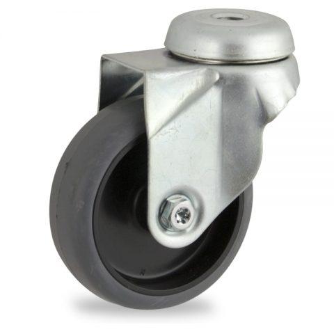 Περιστρεφόμενη ρόδα 50mm για καρότσι ελαφρύ,με τροχό από Γκρι λάστιχο χωρίς ρουλεμάν.Προσαρμογή με τρύπα.