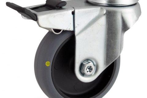 Ρόδα με φρένο ηλεκτροαγώγιμη ρόδα 100mm για καρότσι ελαφρύ,με τροχό από γκρι λάστιχο με σφαιρικά ρουλεμάν.Προσαρμογή με τρύπα.