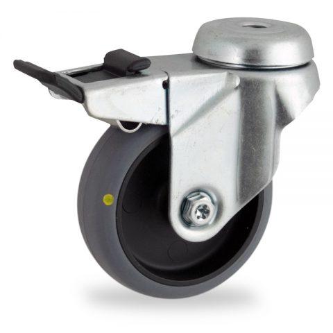 Ρόδα με φρένο ηλεκτροαγώγιμη ρόδα 50mm για καρότσι ελαφρύ,με τροχό από γκρι λάστιχο χωρίς ρουλεμάν.Προσαρμογή με τρύπα.