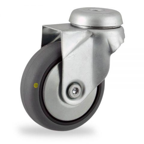 Περιστρεφόμενη ηλεκτροαγώγιμη ρόδα 75mm για καρότσι ελαφρύ,με τροχό από γκρι λάστιχο χωρίς ρουλεμάν με μεταλλικά καπάκια.Προσαρμογή με τρύπα.