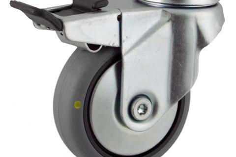Ρόδα με φρένο ηλεκτροαγώγιμη ρόδα 75mm για καρότσι ελαφρύ,με τροχό από γκρι λάστιχο με σφαιρικά ρουλεμάν και μεταλλικά καπάκια.Προσαρμογή με τρύπα.