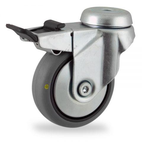 Ρόδα με φρένο ηλεκτροαγώγιμη ρόδα 50mm για καρότσι ελαφρύ,με τροχό από γκρι λάστιχο χωρίς ρουλεμάν με μεταλλικά καπάκια.Προσαρμογή με τρύπα.