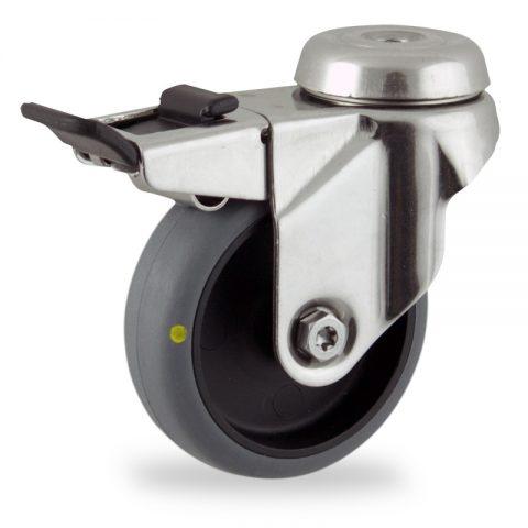 Ανοξείδωτη ρόδα με φρένο αγώγιμη 50mm για καρότσι ελαφρύ,με τροχό από γκρι λάστιχο χωρίς ρουλεμάν.Προσαρμογή με τρύπα.