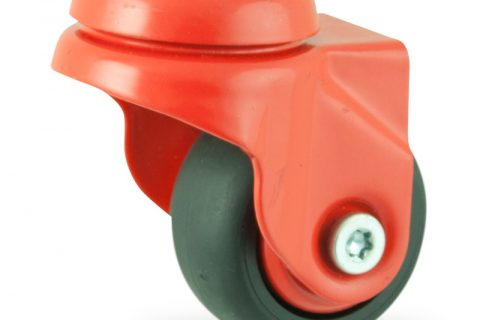 Περιστρεφόμενη χρωματιστή ρόδα 50mm για καρότσι ελαφρύ,με τροχό από Μαύρο λάστιχο χωρίς ρουλεμάν με χρωματιστά καπάκια.Προσαρμογή με τρύπα.