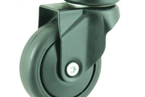 Περιστρεφόμενη χρωματιστή ρόδα 75mm για καρότσι ελαφρύ,με τροχό από Μαύρο λάστιχο χωρίς ρουλεμάν με χρωματιστά καπάκια.Προσαρμογή με πλάκα.