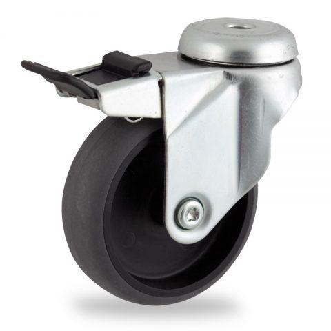 Ρόδα με φρένο ηλεκτροαγώγιμη ρόδα 150mm για καρότσι ελαφρύ,με τροχό από γκρι λάστιχο με σφαιρικά ρουλεμάν.Προσαρμογή με τρύπα.