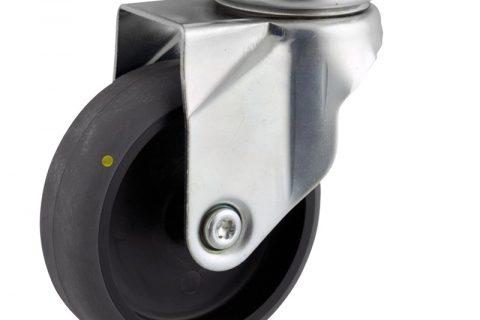 Περιστρεφόμενη αγώγιμη ρόδα 125mm για καρότσι ελαφρύ,με τροχό από γκρι λάστιχο χωρίς ρουλεμάν.Προσαρμογή με πλάκα.
