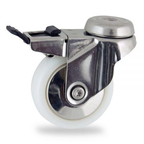 Ανοξείδωτη ρόδα με φρένο 75mm για καρότσι ελαφρύ,με τροχό από Νάυλον χωρίς ρουλεμάν με ανοξείδωτα καπάκια.Προσαρμογή με τρύπα.