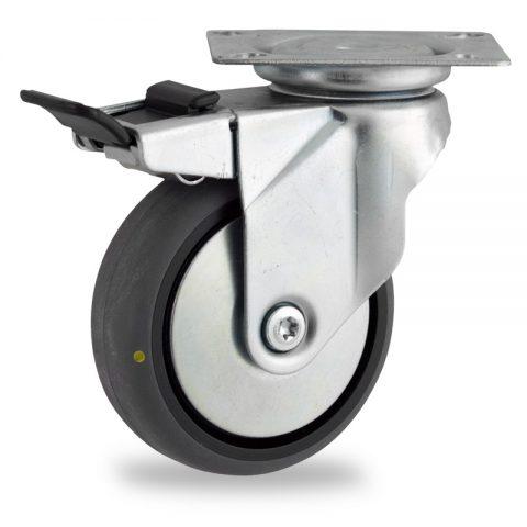 Ρόδα με φρένο αγώγιμη ρόδα 100mm για καρότσι ελαφρύ,με τροχό από γκρι λάστιχο χωρίς ρουλεμάν με μεταλλικά καπάκια.Προσαρμογή με πλάκα.