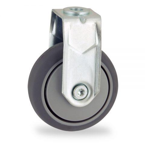 Σταθερή ρόδα 75mm για καρότσι ελαφρύ,με τροχό από Γκρι λάστιχο χωρίς ρουλεμάν και με πλαστικά καπάκια.Προσαρμογή με τρύπα.